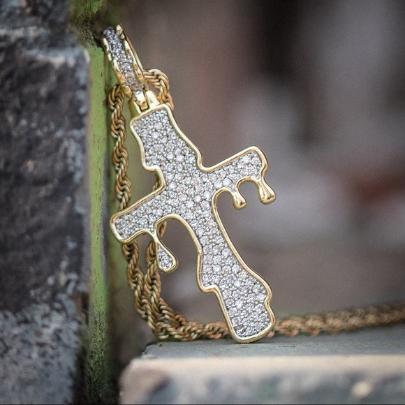 65744146ff2 Iced Out Gold Dripping Cross Necklace